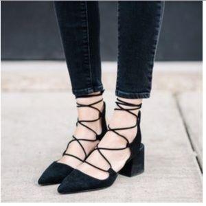 Zara Black Lace-up Pointed Toe Block Heel Sz 6